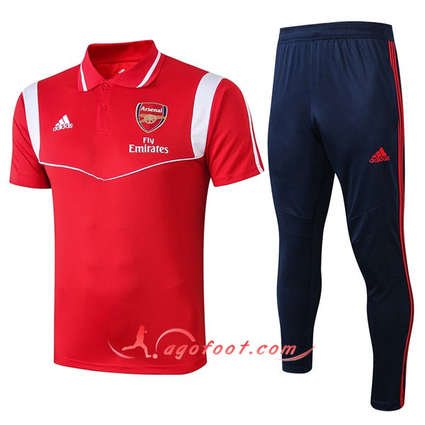 Ensemble Polo Arsenal + Pantalon Rouge Blanc 19/20