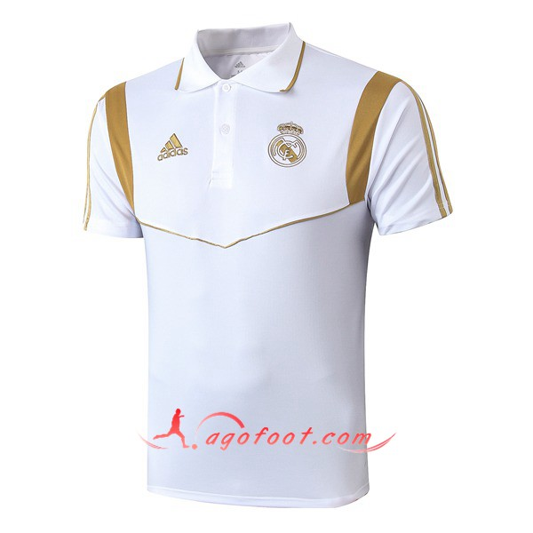 Polo Foot Real Madrid Blanc Jaune 19/20