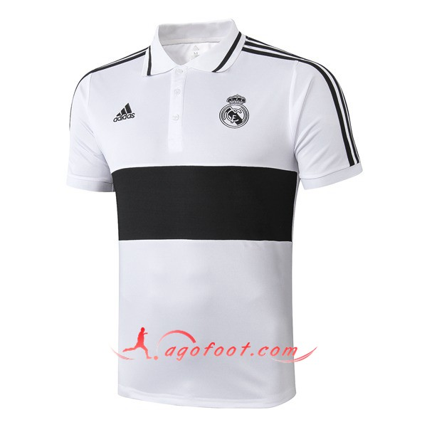 Polo Foot Real Madrid Noir Blanc 19/20