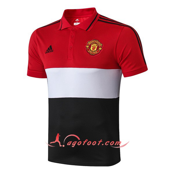Polo Foot Manchester United Blanc Noir Rouge 19/20