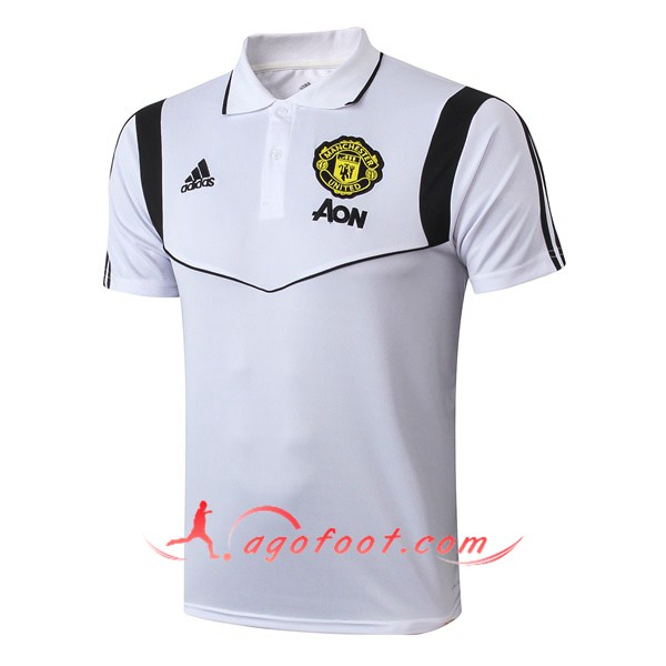 Polo Foot Manchester United Blanc Noir 19/20