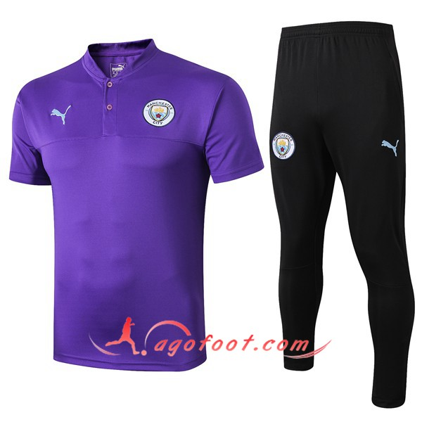 Ensemble Polo Manchester City + Pantalon Pourpre 19/20
