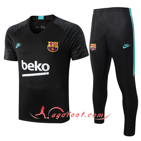 Training T-Shirts FC Barcelone + Pantalon Noir Vert 19/20