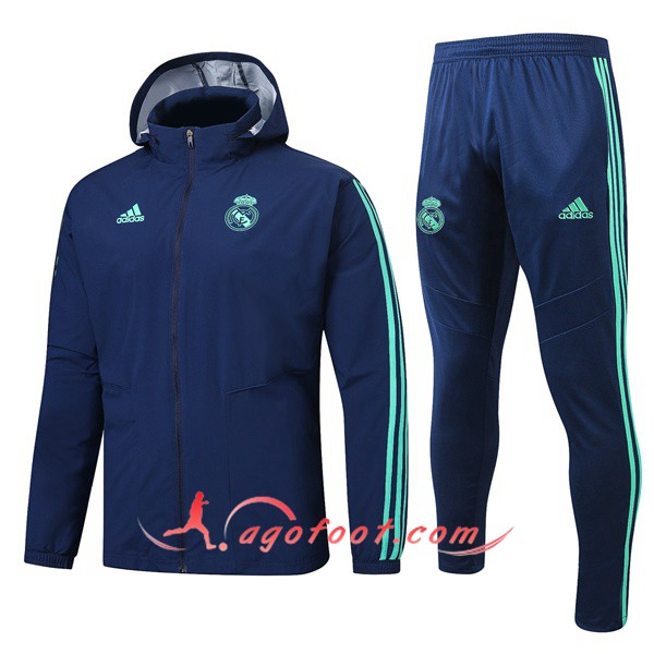 Ensemble Coupe-Vent Survetement Foot Real Madrid Bleu Saphir 19/20