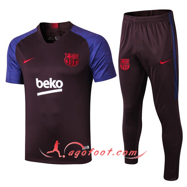 Training T-Shirts FC Barcelone + Pantalon Pourpre 19/20