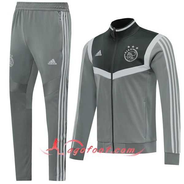 Ensemble Survetement Foot - Veste AFC Ajax Gris 19/20