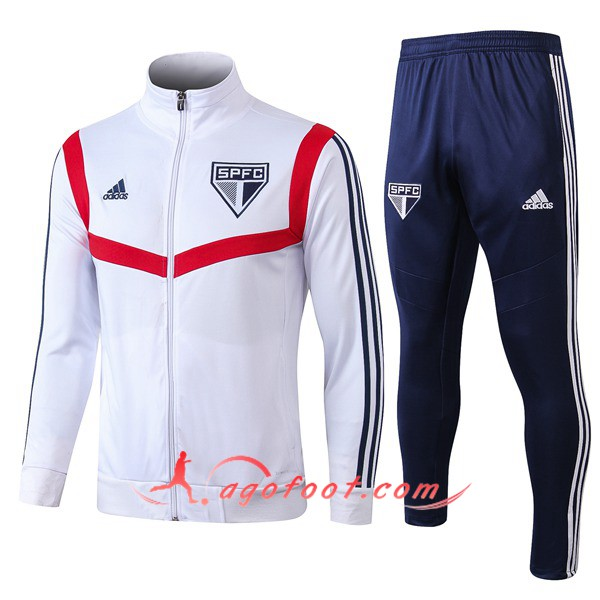 Ensemble Survetement Foot - Veste Sao Paulo FC Blanc 19/20