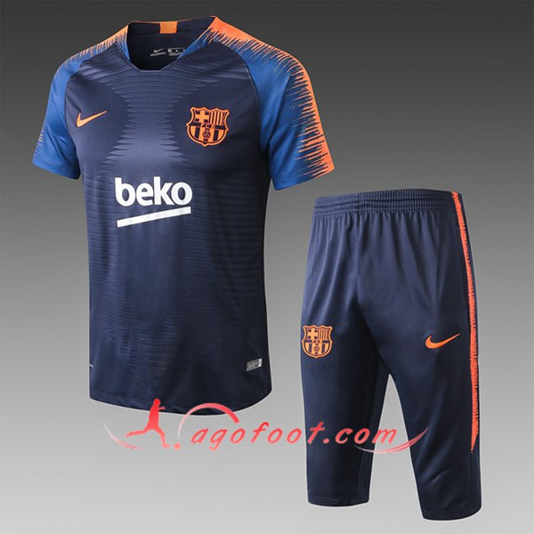 Ensemble PRÉ MATCH Training FC Barcelone + Pantalon 3/4 Orange/Bleu Fonce 2019/20