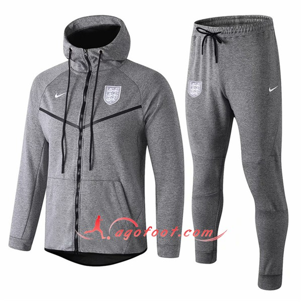 Ensemble Sweat A Capuche Survetement Angleterre Gris Floqué 2018 2019