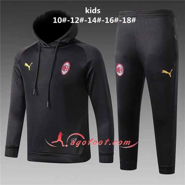 Ensemble Sweat A Capuche Survetement Milan AC Enfant Noir Floqué 2018 2019
