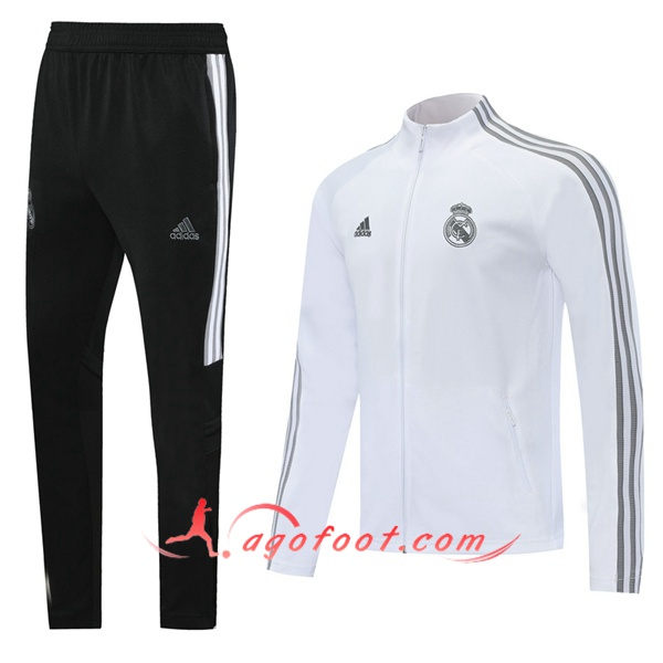 Ensemble Survetement Foot - Veste Real Madrid Blanc 20/21