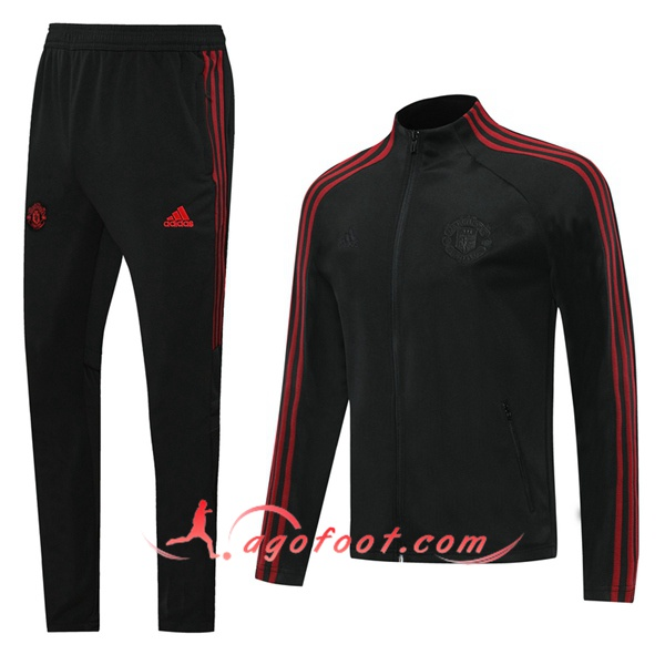 Ensemble Survetement Foot - Veste Manchester United Noir 20/21