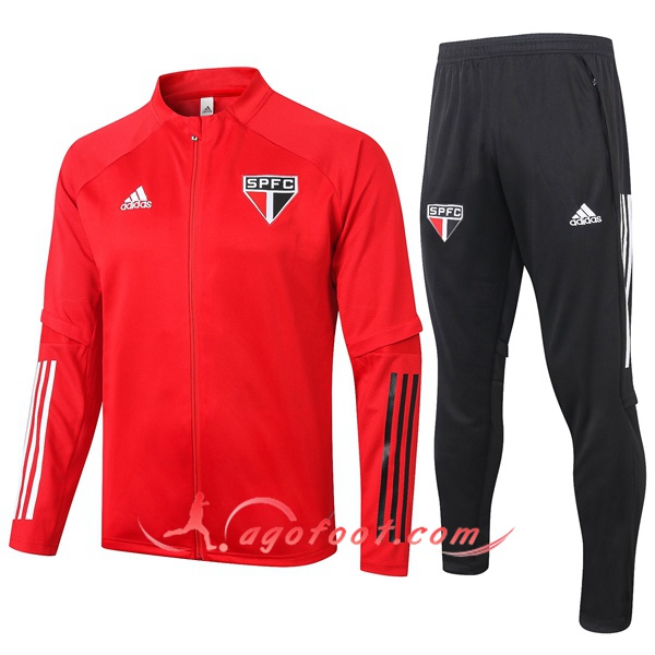 Ensemble Survetement Foot - Veste Sao Paulo FC Rouge 20/21