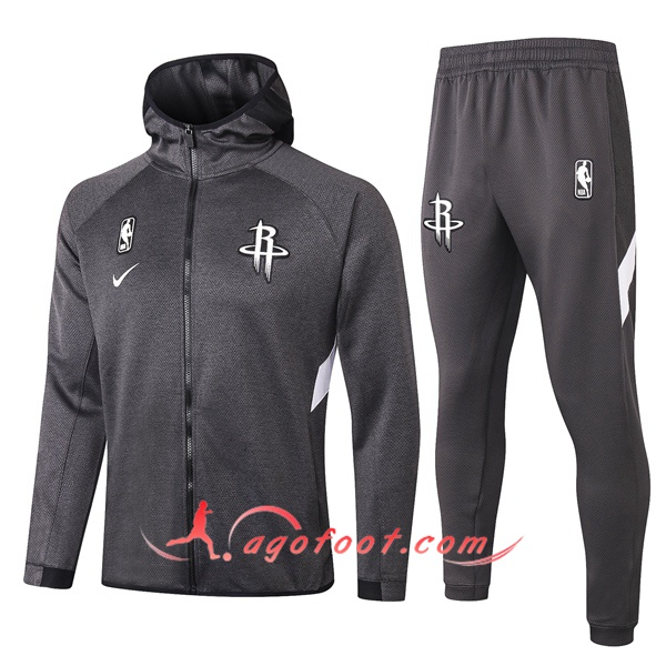 Veste A Capuche Survetement Houston Rockets Gris 20/21