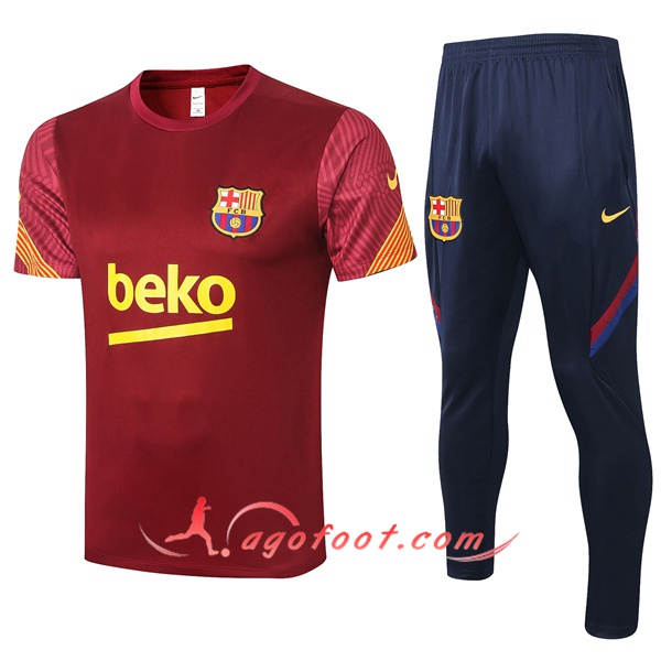 Training T-Shirts FC Barcelone + Pantalon Rouge 20/21