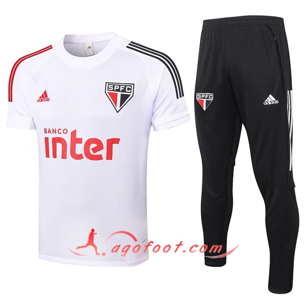 Training T-Shirts Sao Paulo FC + Pantalon Blanc 20/21