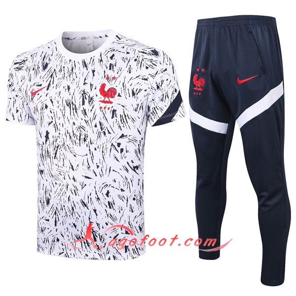 Training T-Shirts France + Pantalon Noir Blanc 20/21