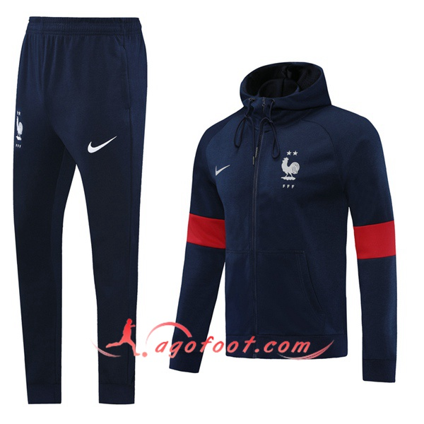Veste A Capuche Survetement Foot France Bleu Royal 20/21