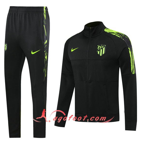 Ensemble Survetement Foot - Veste Atletico Madrid Noir Vert 20/21